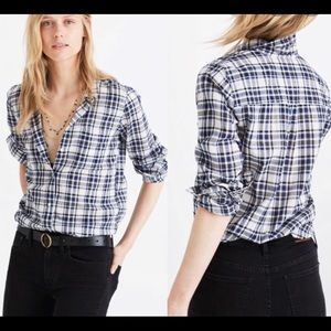 Madewell Plaid Slim Ex-Boyfriend Shirt Small